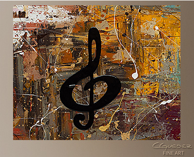 Universal Language - Original Music Abstract Paintings for Sale. Piano, Guitar, Trombone, Violin, Cello, Rock, Jazz and other Abstract Art by Carmen Guedez - www.carmenguedez.com